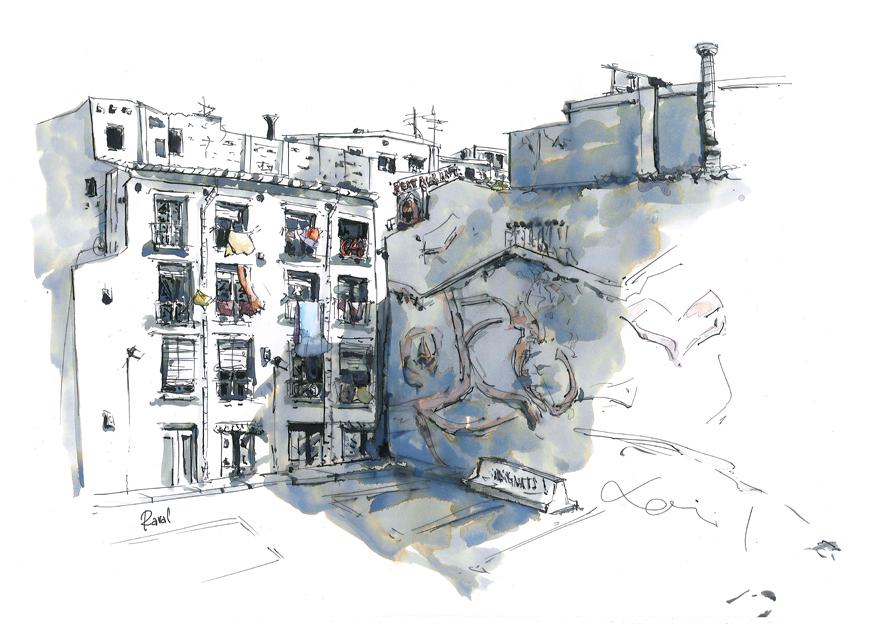 Solar y ropa de color en el barrio del Raval de Barcelona_Barcelonink