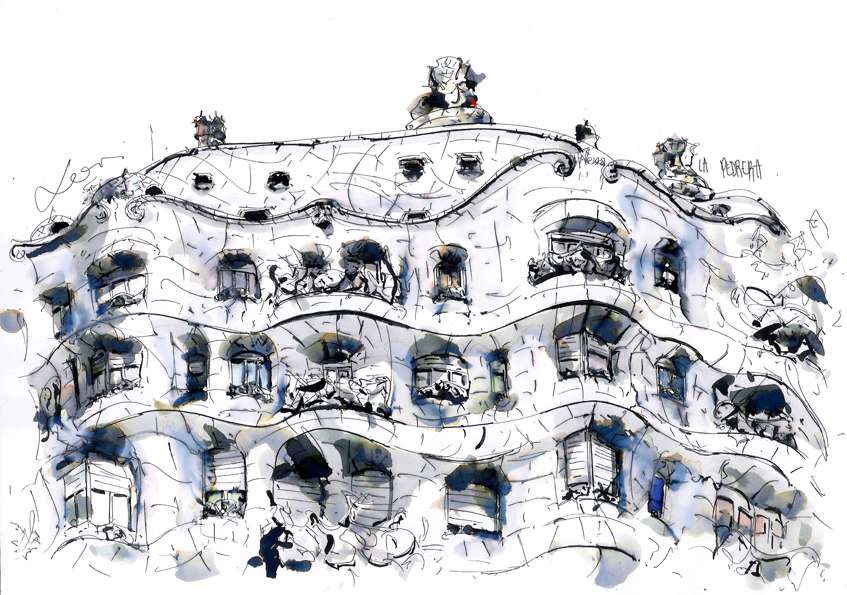 Casa Mila_La Pedrera_Antoni Gaudi_Dibujo a tinta china_Barcelonink