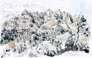 La montana de Montserrat dibujada a tinta china color_Barcelonink