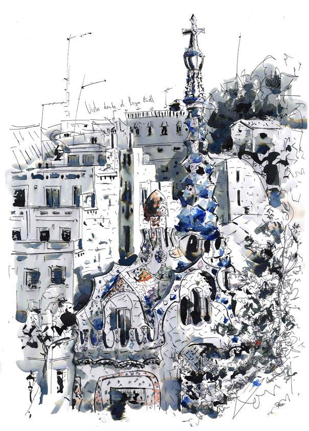 El parque guell en Barcelona_Antoni Gaudí_dibujo y tinta china_Barcelonink