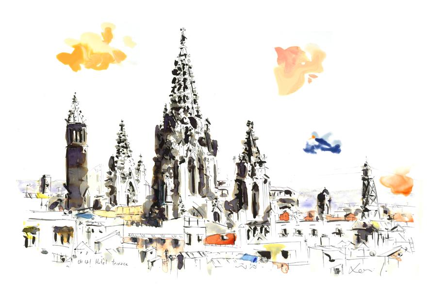 Vistas desde la terraza del ohla hotel barcelona_catedral y nubes de color