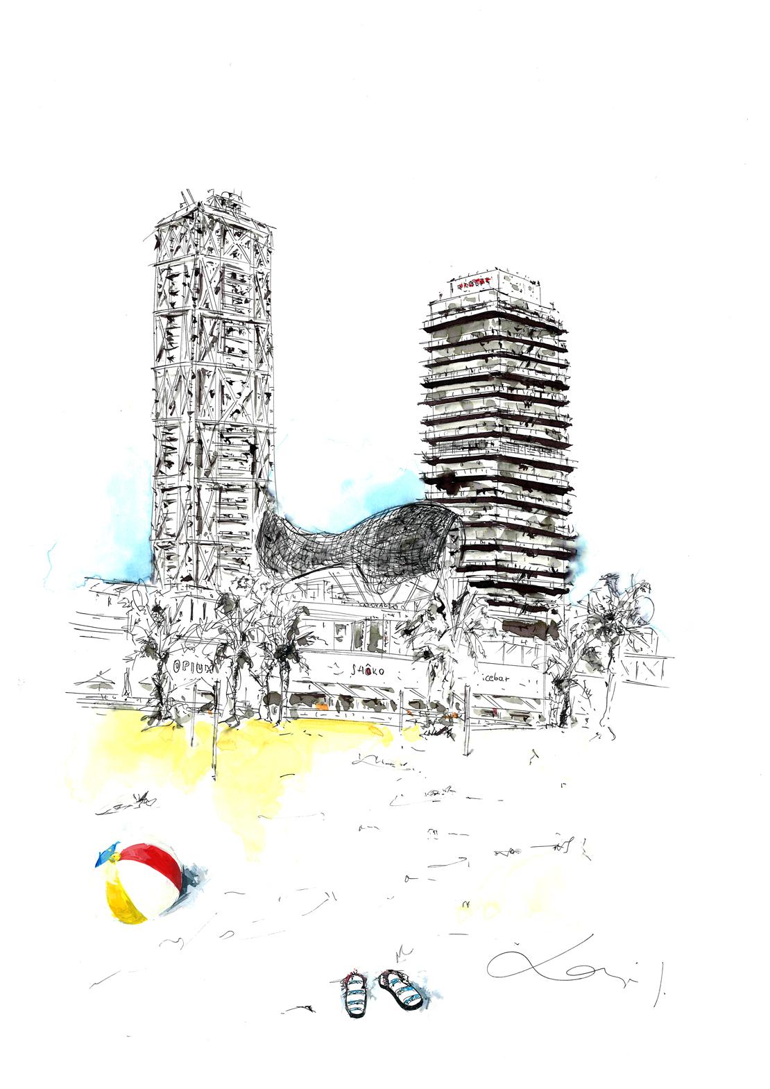 Torre Mapfre, Hotel Arts y el pez de Frank Gehry desde la playa de Barcelona