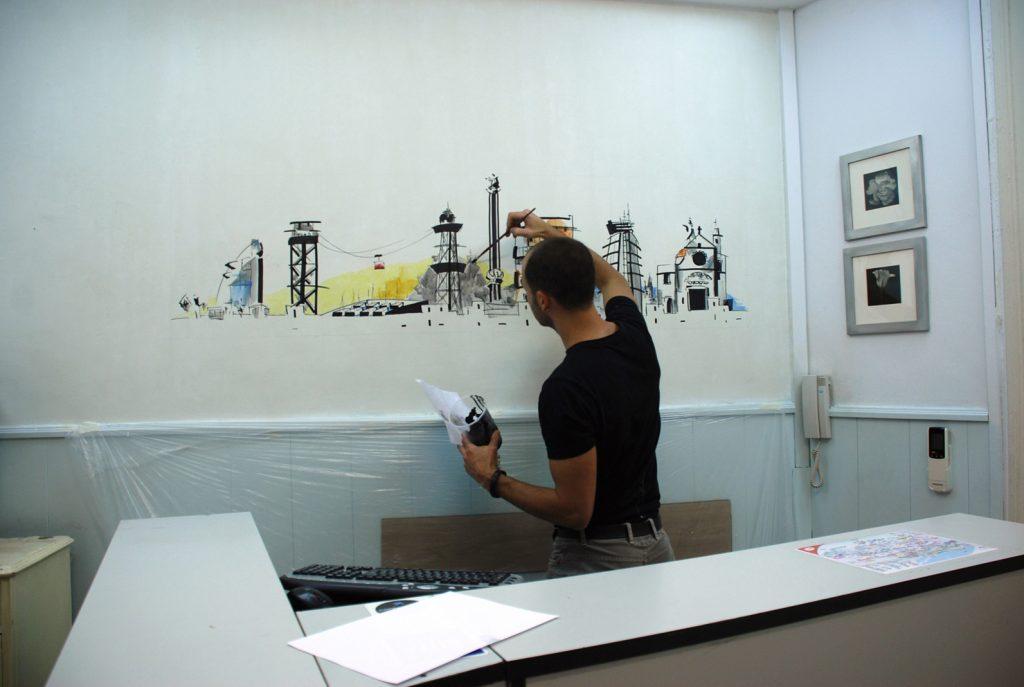 Pintando en la Pensión Portugal BCN