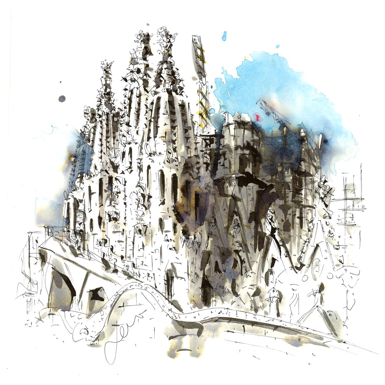 Estudio de la Sagrada Familia a tinta china y color para el sensation apartment