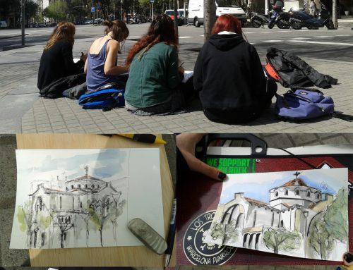 Clase de dibujo en Barcelona con alumnas de la Escuela Can Batlló