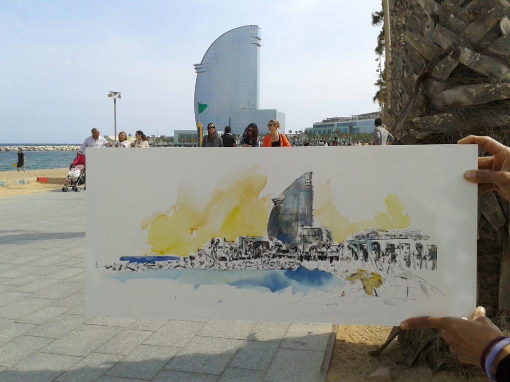 Dibujando el Hotel Vela de Barcelona