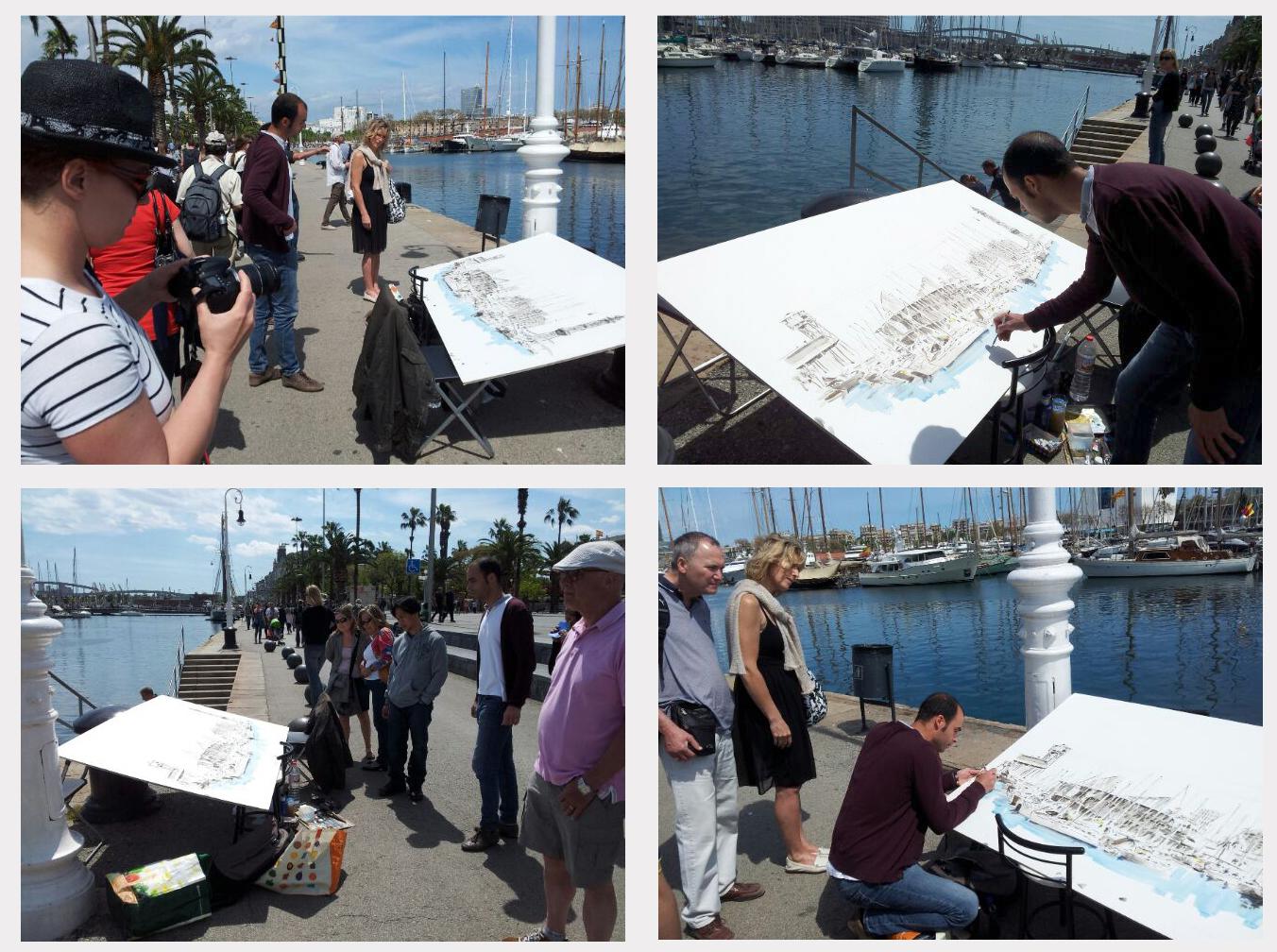 Transcurso de la sesión de dibujo en el Puerto de Barcelona