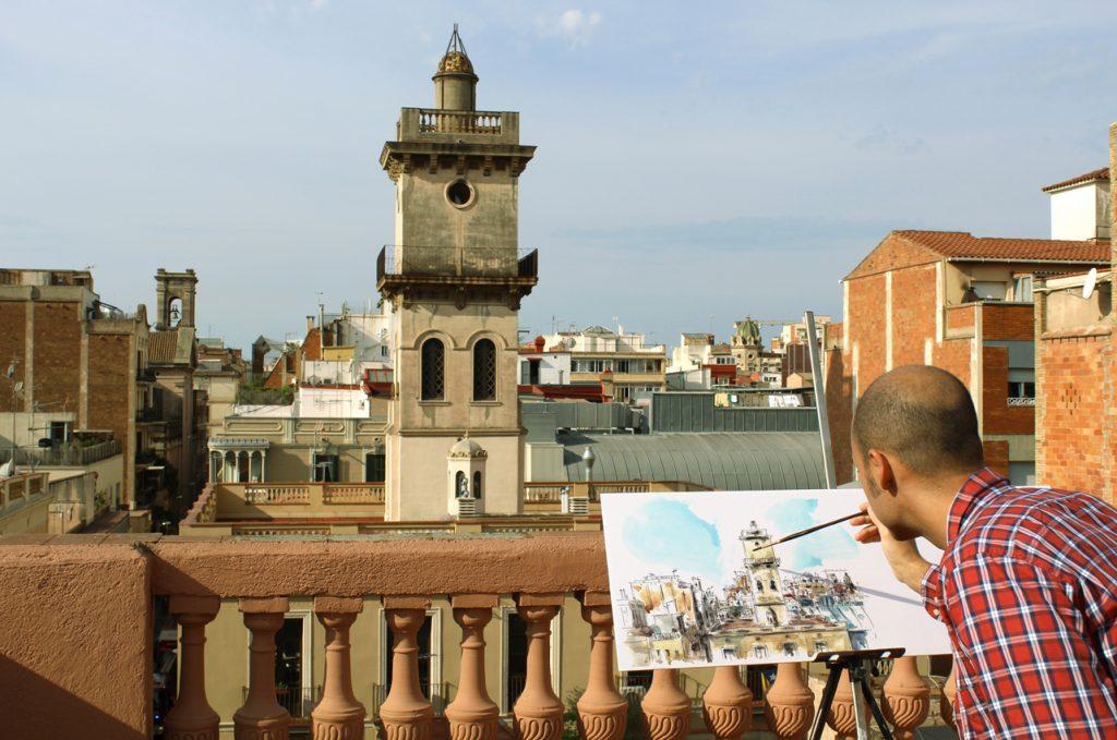Ciclo de dibujos desde las terrazas de Barcelona, celebrado durante el mes de octubre de 2016.