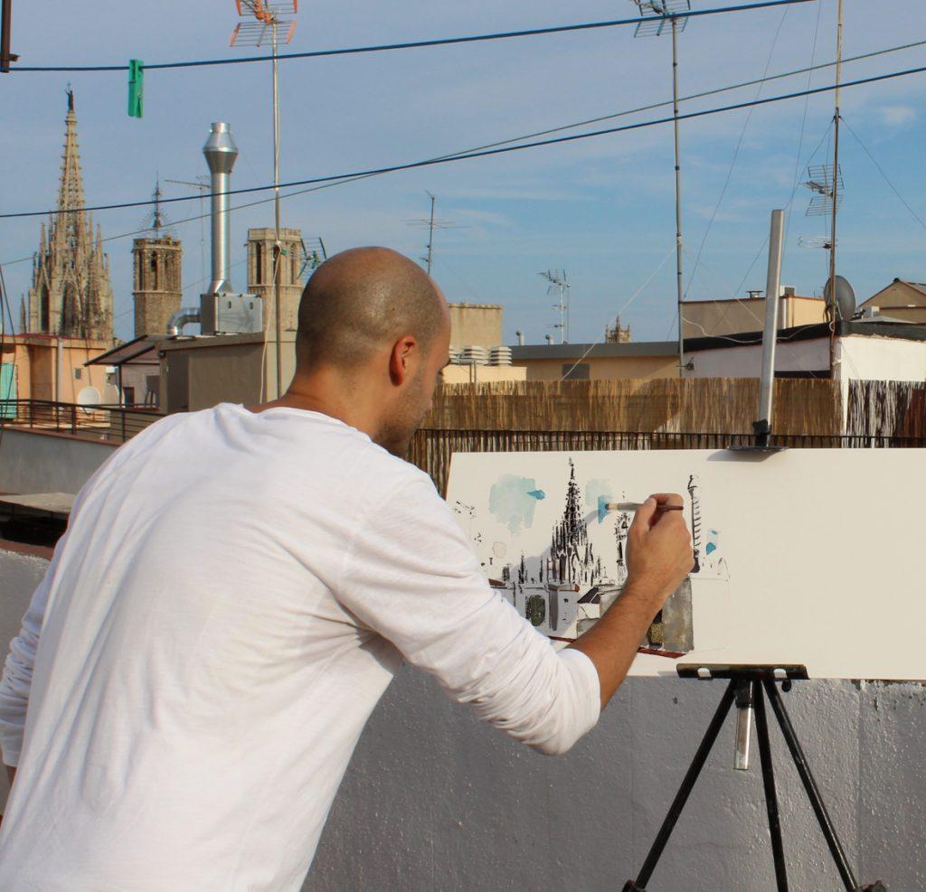 Barcelonink-dibujando-desde-la-azotea-ramblas