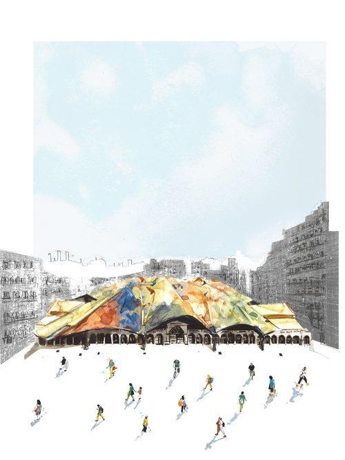 barcelonink-mercado-de-santa-caterina-barcelona-dibujo