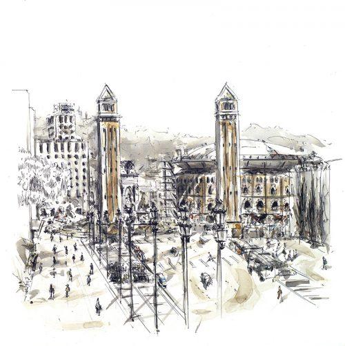 barcelonink-plaza-espana-recinto-ferial-montjuic-barcelona